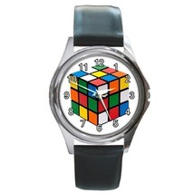 Rubik's Cube Unisex Round Metal Watch Gift mode... - $13.99