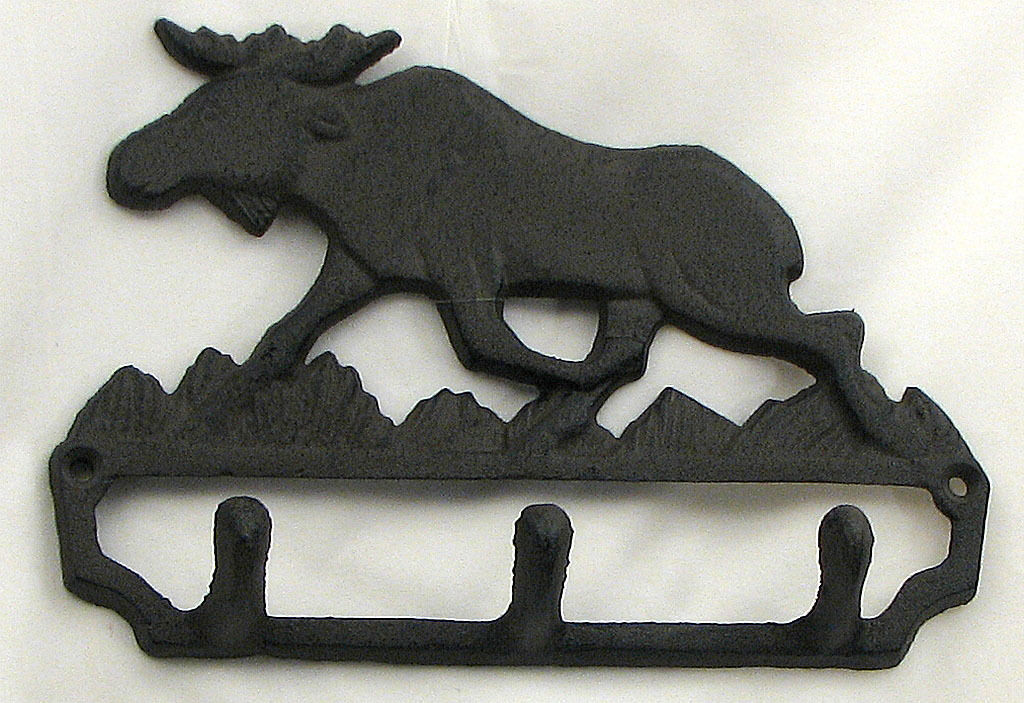 Cast Iron Moose Wall Hook Cabin Lodge Decor