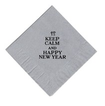 """25 """"Keep Calm"""" Diagonal New Years Party Silver Beverage Cocktail Napkins In Blac - $5.93"""