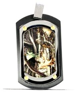 Men's and Women's Unisex Hunting Camo Jewelry Dog Tag Stainless Steel Black - $18.68