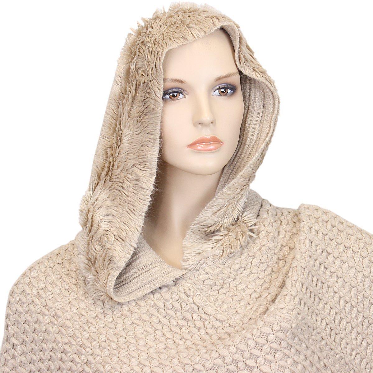 Hooded Knit Poncho with Fringe Khaki