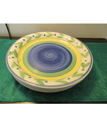 "Set Of Four Vintage Trisa Handpainted Stoneware Dinner Plates 10 3/4"" - $19.99"