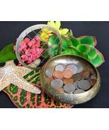 Vintage Etched Brass Flower Frog Bowl India Mesh Lid Coin Trinket Dish - $14.95