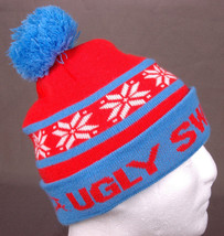 Ugly Sweater Run Winter Hat-Blue Red-Pom-Snowflake-Toque-Beanie-Tobogan-... - $9.48