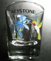 Keystone Colorado Shot Glass Hummingbird and Columbine on Clear Glass - $6.99