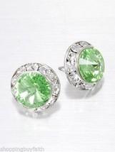 Light Green w/Clear Swarovski Crystal Post Stud Pierced Earrings Crystal Avenue - $20.78