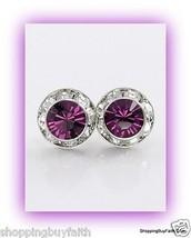 """Women's Plum Purple Swarovski Crystal Earrings Post Pierced 0.3"""" Crystal Avenue  - $16.81"""