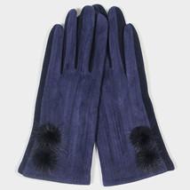 Navy Blue Fleece Lined Pom Pom Detail Smart Gloves 314223 - $196,80 MXN