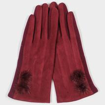 Burgundy Fleece Lined Pom Pom Detail Smart Gloves 314220 - $212,25 MXN
