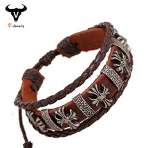 Ethnic Vintage Design Jewelry Gothic Cross Bracelet Lady Genuine Leather... - $4.08