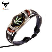 Newest Harajuku Style Women Leather Maple Leaf Bracelet Wristband Punk R... - $3.83