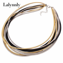 Fashion Multilayer Leather Chain Cross Gold Metal Tube Collar Choker Sta... - $4.43