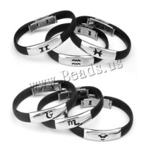 High Quality Stainless Steel Silicone Bracelets Women Men Jewelry Silver... - $1.17+