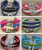 Infinity Charm Leather Bracelet Jewelry Women Fashion Cord Chain Pendant... - $3.99