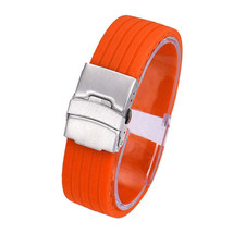 4 Color Watch Band Waterproof Silicone Rubber Watch Strap Deployment Buc... - $4.99