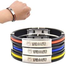 1 piece Hot KPOP Male Group BTS Titanium Steel Pendant Silicone Bracelet... - $4.50