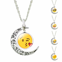 Glass Cabochon Jewelry Silver Plated with Cute Emoji Crescent Moon Shape... - $1.02+