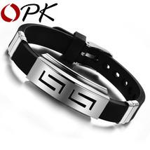 OPK 2016 New Fashion Jewelry Silicone Rubber Silver Slippy Hollow Strip ... - $4.49