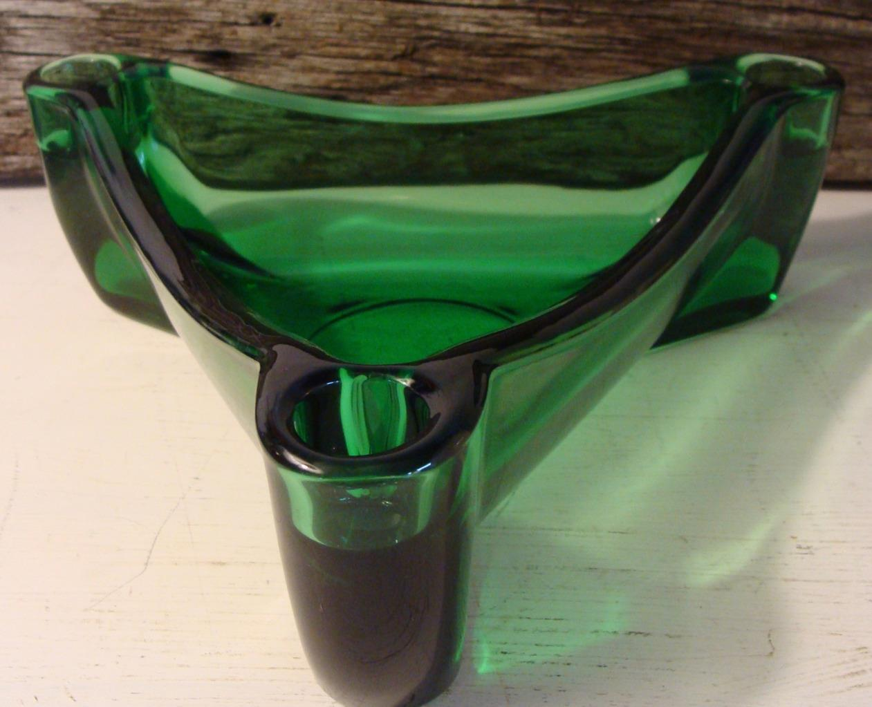 Vintage Anchor Hocking Forest Green Mid Century Candle Holder Centerpiece Atomic