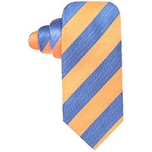 Coutess MARA Men's Tie Orange Blue Prato Stripe 100% Silk Classic Necktie  - $24.18
