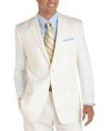 Calvin Klein Mens Blazer Sz 46 Regular Cream Beige Stitch Detail Suit Ja... - €107,52 EUR