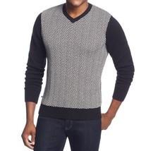 Geoffrey Beene Sweater Sz L Black White Chevron Crewneck Pullover Casual   - $47.26