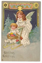 1907 Vintage Tuck Christmas Postcard Angel Pushing Child Gifts in Sled Embossed - $6.69