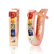 1.3 Carat 14K Solid Rose Gold Huggie Earrings Multicolor Sapphire - $198.01