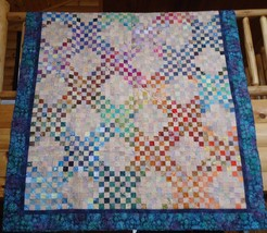 "Quilt 74"" x 94"" Pieced Batik Irish Chain Mennonite Hand Quilted New Canada - $415.80"