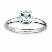 STERLING SILVER STACKABLE EXPRESSIONS  NATURAL AQUAMARINE RING / BAND - ... - £41.53 GBP