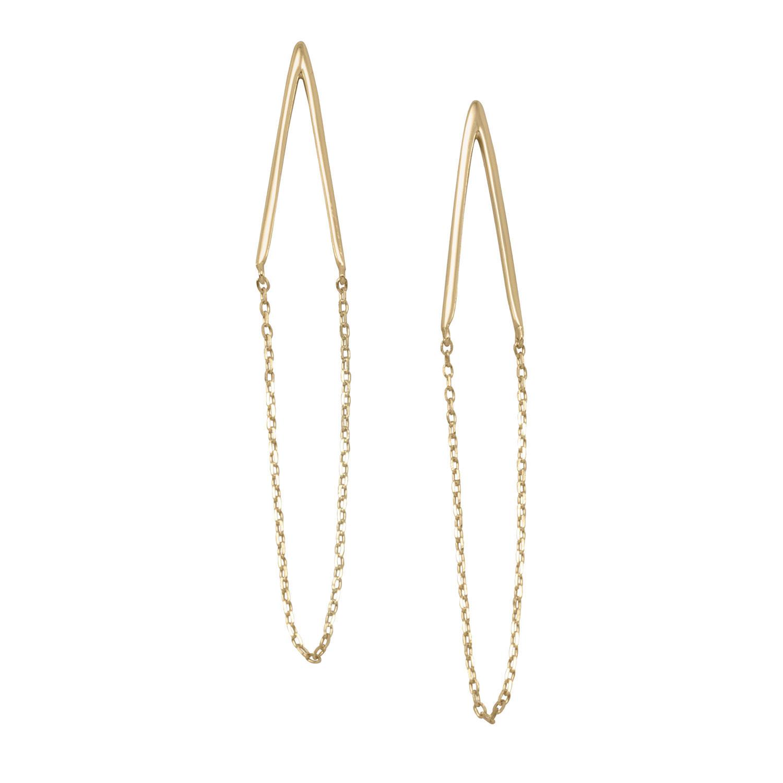 14 Karat Gold Plated Sterling Silver Chain Drop Earrings