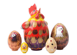 "Rooster Nesting Egg - 4"" w/ 5 Pieces - $54.00"