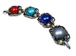 Art Nouveau Link Bracelet Pearls Blue Green Grey Red Silver Link Cabocho... - $29.70