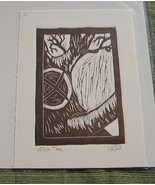 Nancy Drew inspired linocut print Witch Tree (brown ink) - $10.00