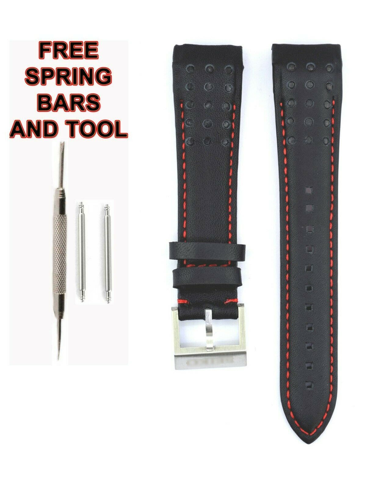 Compatible Seiko Sportura SNAE75J1 21mm Black Genuine Leather Watch Strap SKO111 - $29.43