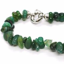 925 STERLING SILVER NECKLACE WITH AGATE GREEN STRIATA, 50 0,5 75 CM LENGTH image 6