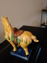 "Old Chinese Tang Style 3 Color Porcelain Pottery Horse Statue 6.5""  1981  Chang- image 4"
