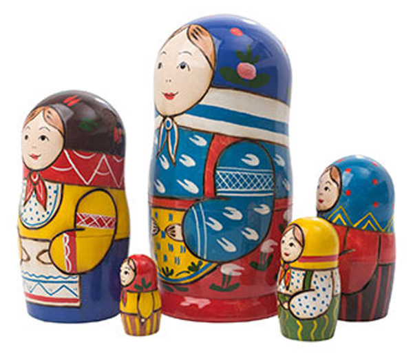 """Peasant Girl Nesting Doll - 6"""" w/ 5 Pieces"""