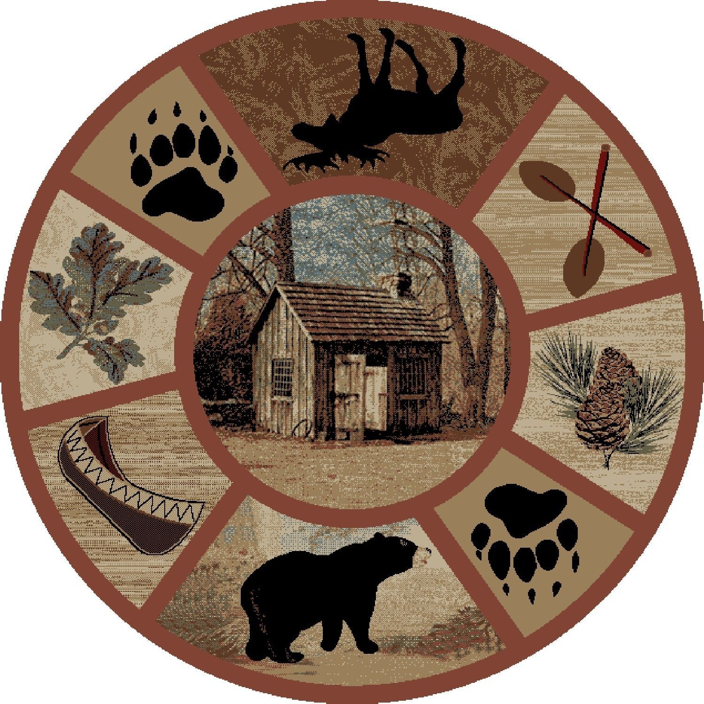 "5' Round (5'3"") Lodge Cabin Bear Moose Fish Pinecone Area"