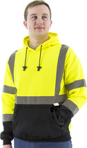 ANSI Class 3 Lime Pullover Hoodie With Black Bottom,CL8366B - $35.00