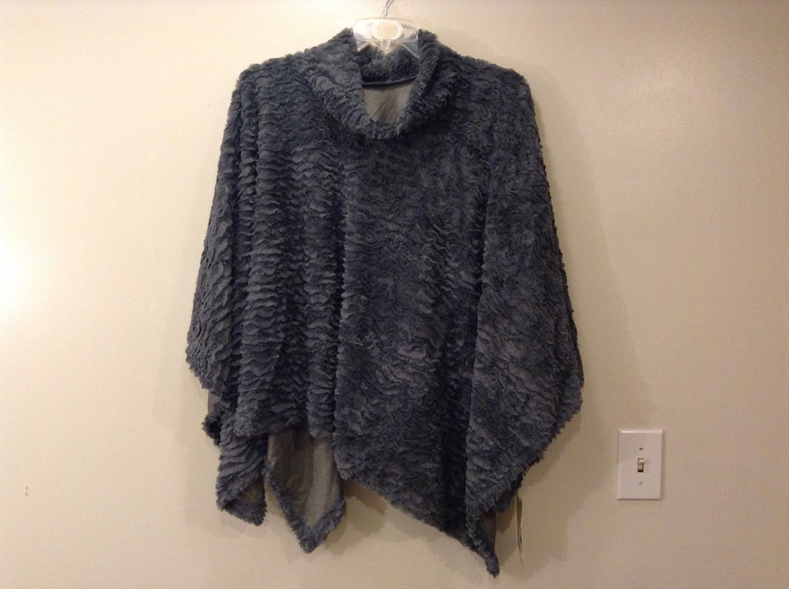 Life Is Beautiful Furry Blue Gray Cover Up Scarf Poncho