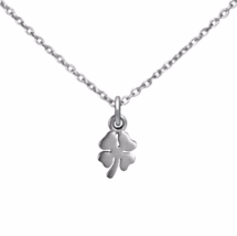Tiny Silver Lucky Four Leaf Clover Necklace, 925 Sterling Silver Chain N... - $18.65