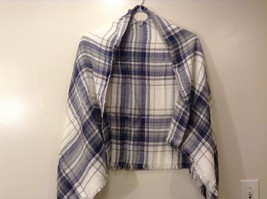 NEW Plaid Navy Blue Gray White Beige Blanket Scarf Wrap