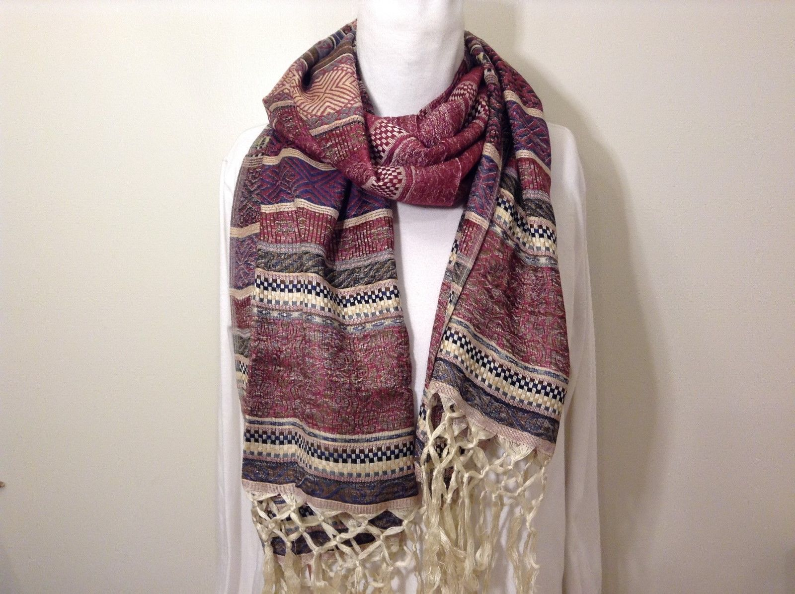 Love Of Fashion NY Beautiful Fringed Burgundy Scarf Wrap