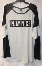 Cute New Womens Plus Size 3X Gray & Black Play Nice Striped Sleeve Tee Shirt Top - $18.37