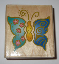 Whimsical Butterfly Rubber Stamp Butterflies Wood Mounted - $4.94