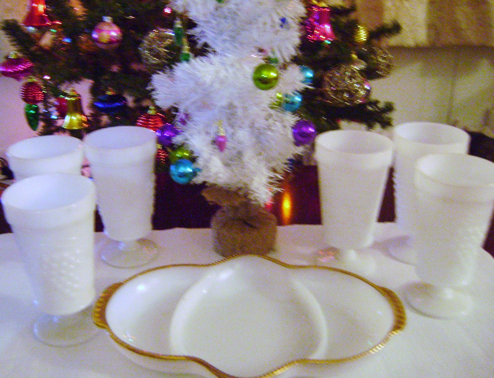 Primary image for Milkglass Paneled Grape Footed Goblets & Vintage  Anchor Hocking Divided Relish