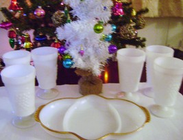 Milkglass Paneled Grape Footed Goblets & Vintage  Anchor Hocking Divided... - $22.00