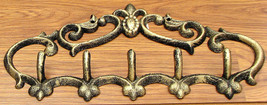Fleur De Lis Cast Iron Coat Rack 5- Hook Hangers Wall Mount - $19.79