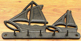 CAST IRON Sailboat Key Hook Wall Hanger - $14.84